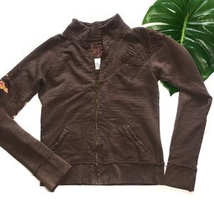 Billabong brown zip up with tropical patches S